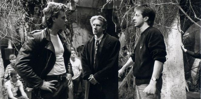 Barker on set with David Cronenberg and Craig Sheffer