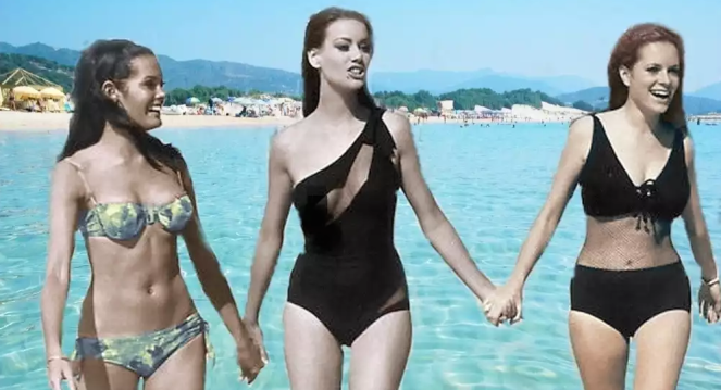 Martine Beswick, Claudine Auger and Luciana Paluzzi, during the shooting of Thunderball.